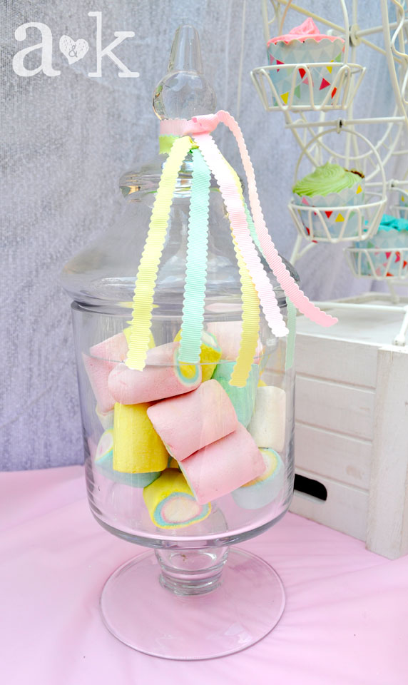 Pastel Carnival Party by A&K Lolly Buffet | Pastel-coloured marshmallows in Glass Lolly Jar with pastel ribbons