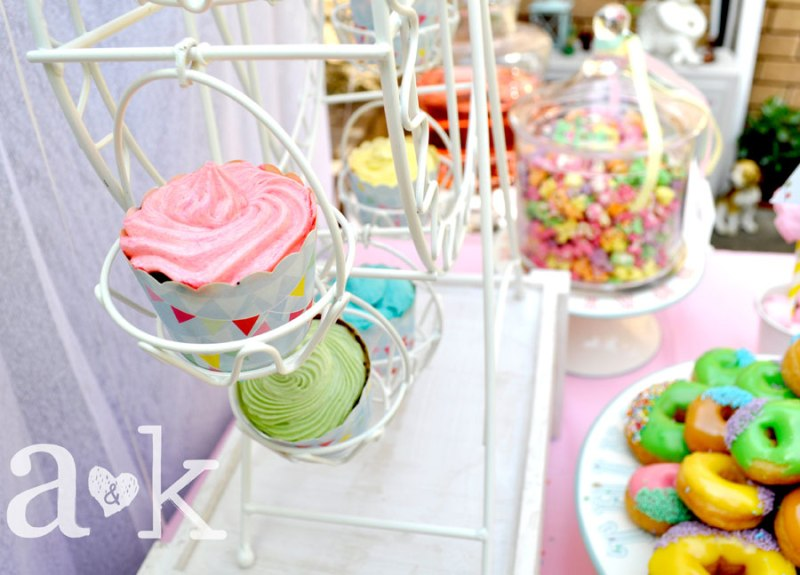 Pastel Carnival Party by A&K Lolly Buffet | Ferris Wheel Cupcake Holder. Cupcakes by Sweet Treats by Martie.