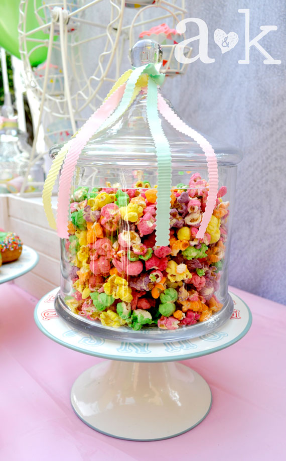 Pastel Carnival Party by A&K Lolly Buffet | Coloured Popcorn in Carnival Lolly Jar with pastel ribbons