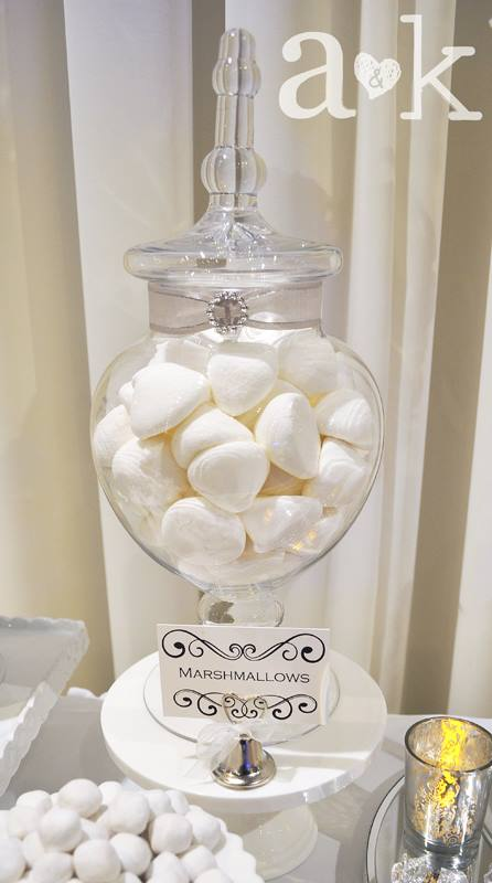 Marshmallows in Glass Lolly Jar with customised ribbon and buckle