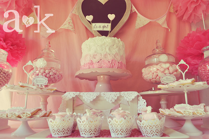 Vintage Fairytale themed dessert table for Nicole's Baby Shower by A&K Lolly Buffet.