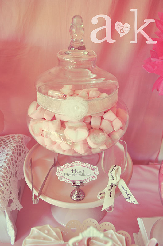 Pink Heart Marshmallows in Apothecary Glass lolly Jar with ribbon & rosette.