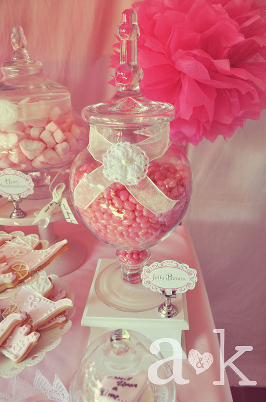 Pink Jelly Beans in Apothecary Glass lolly Jar with ribbon & crochet rosette