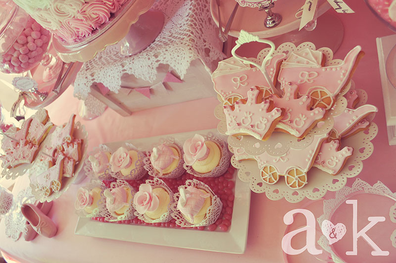 Nicole's Vintage Fairytale Pink Baby Shower Dessert Table