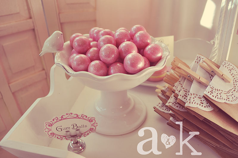 Pink Shimmering Gum Balls in Shabby Bird Compote