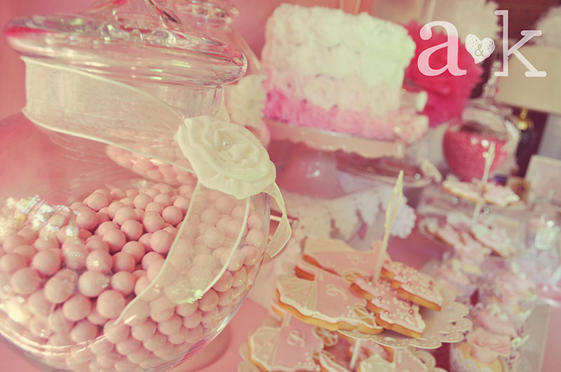 Pink Chocolate Sixlets in Apothecary Glass lolly Jar with ribbon & rosette.