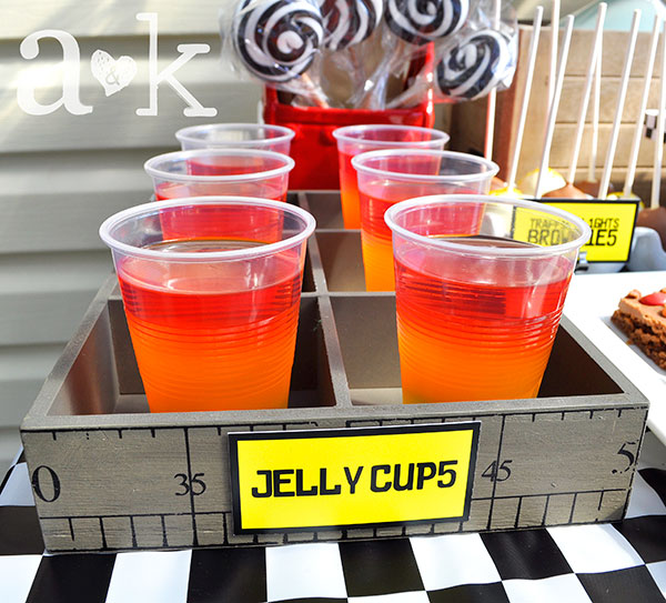 Jelly cups in wooden tray