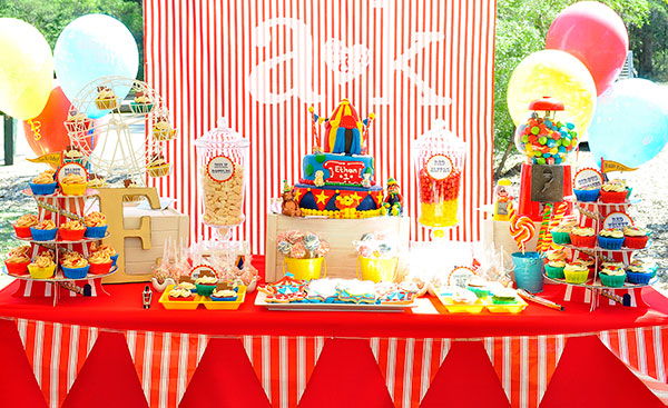 Ethan's Circus Themed 1st Birthday Dessert Buffet by A&K.