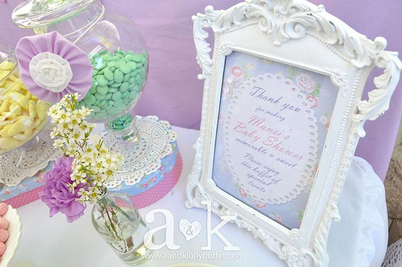 Mansi's Vintage Pastel Baby Shower Dessert Buffet by A&K.