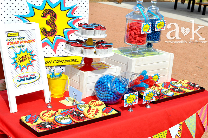 Lyrell's Spiderman Themed 3rd Birthday Dessert Buffet by A&K.
