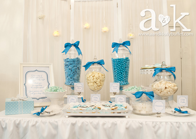 Aqua Blue and White Bushfire Benefit Night Lolly Buffet by A&K.