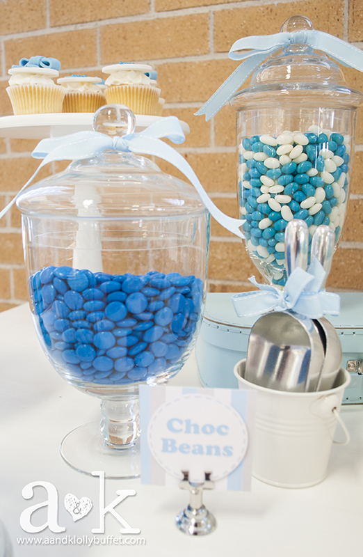 Romeo's Christening Tatty Teddy Blue, White and Grey Lolly Buffet by A&K.