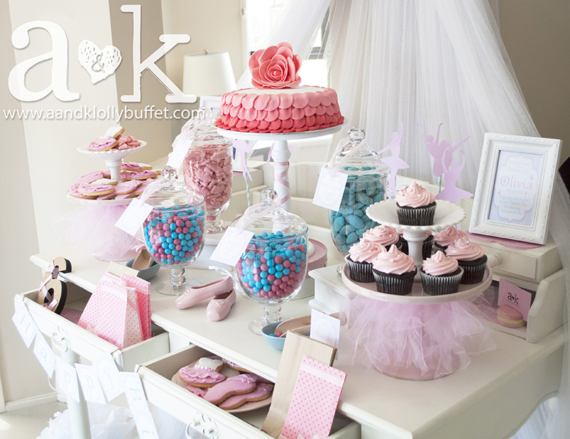 Olivia's 6th Birthday Pink and Blue Ballerina Dessert Buffet by A&K.