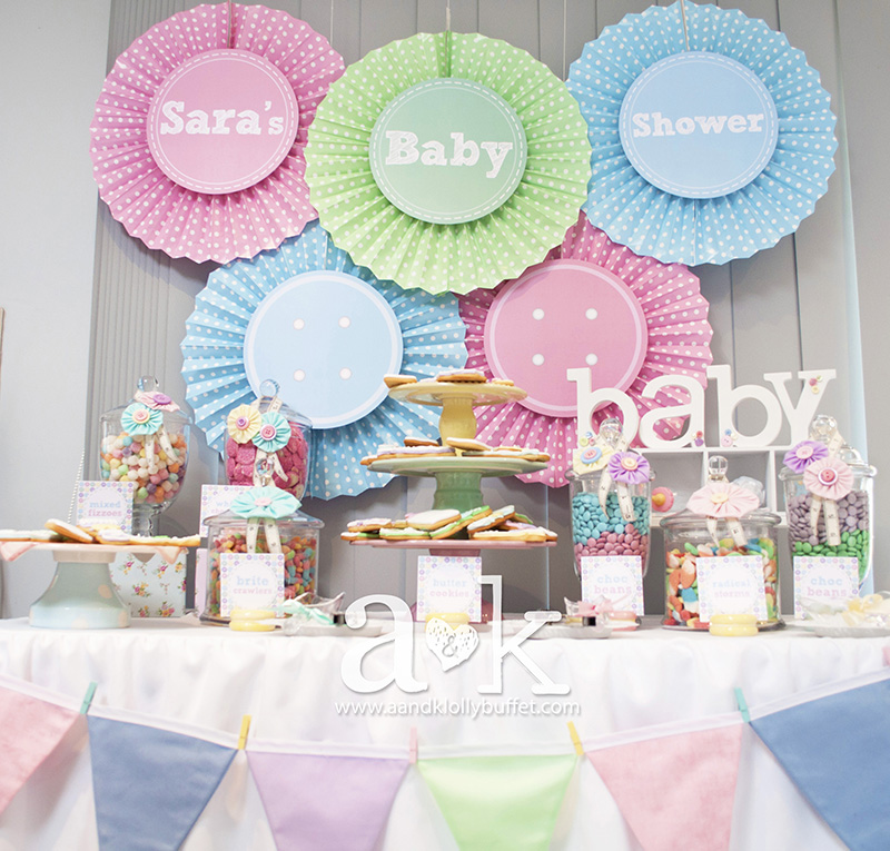 "Sara's Pastel Coloured ""Cute As A Button"" Baby Shower Dessert Buffet by A&K."