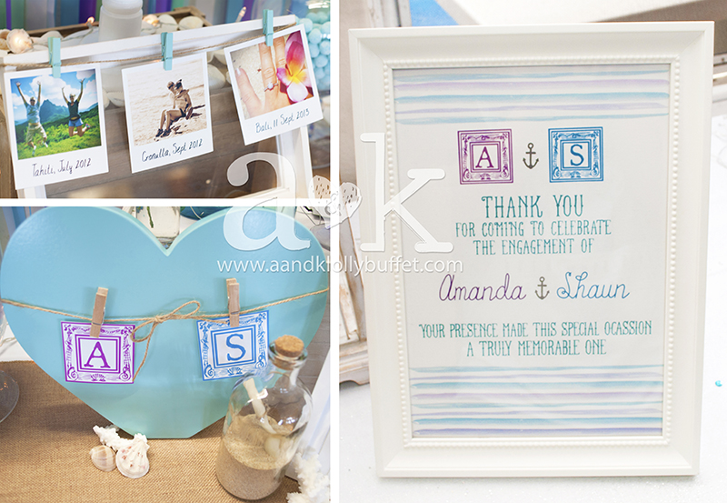 Personalised decor and prints for Amanda and Shaun's Coastal themed Dessert Buffet by A&K. Concept, Styling and Photography by A&K.