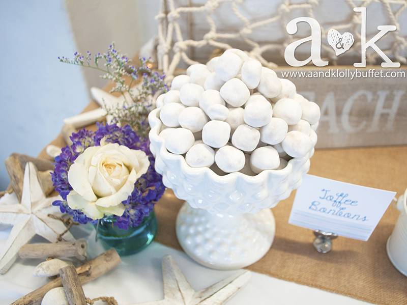 Toffee Bonbons featured in our Rosanna Hobnail Milkglass Compote with custom-designed label. Styling & Photography by A&K.