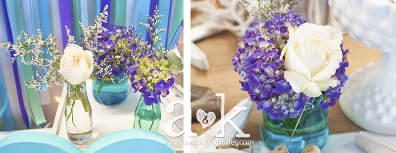 Lovely flowers in Coastal vases. Styling & Photography by A&K