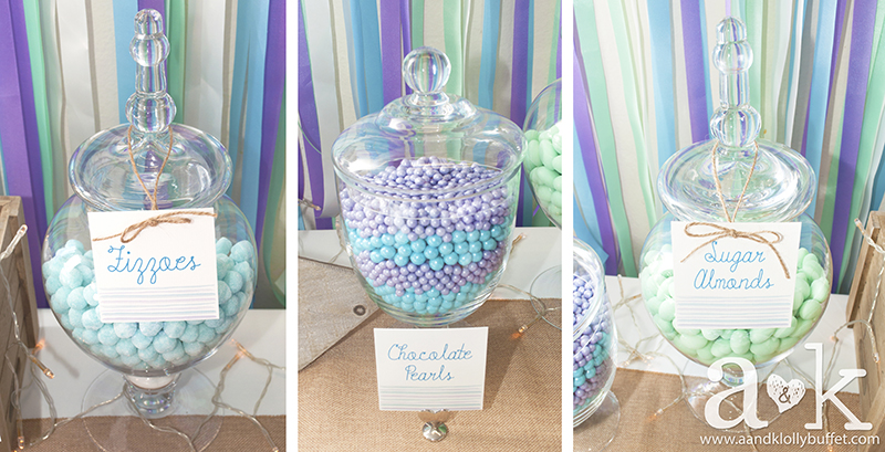 Purple, Aqua and Green lollies for Coastal inspired Dessert Buffet. Concept, Styling & Photography by A&K.